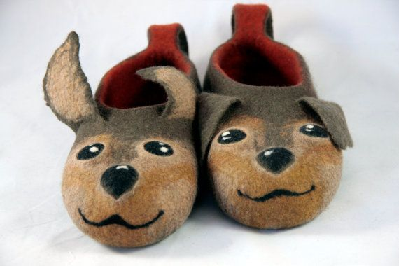 Felted Dogs Slippers Adult Size Handmade House Shoes Dogs Felt