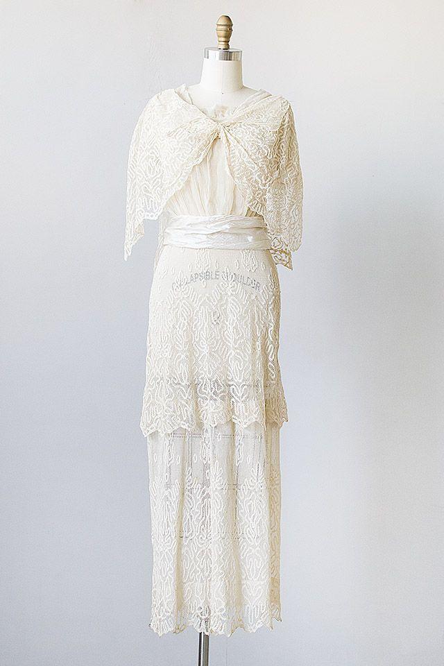 Vines of Ivory Dress   antique edwardian 1900s ecru lace gown ...