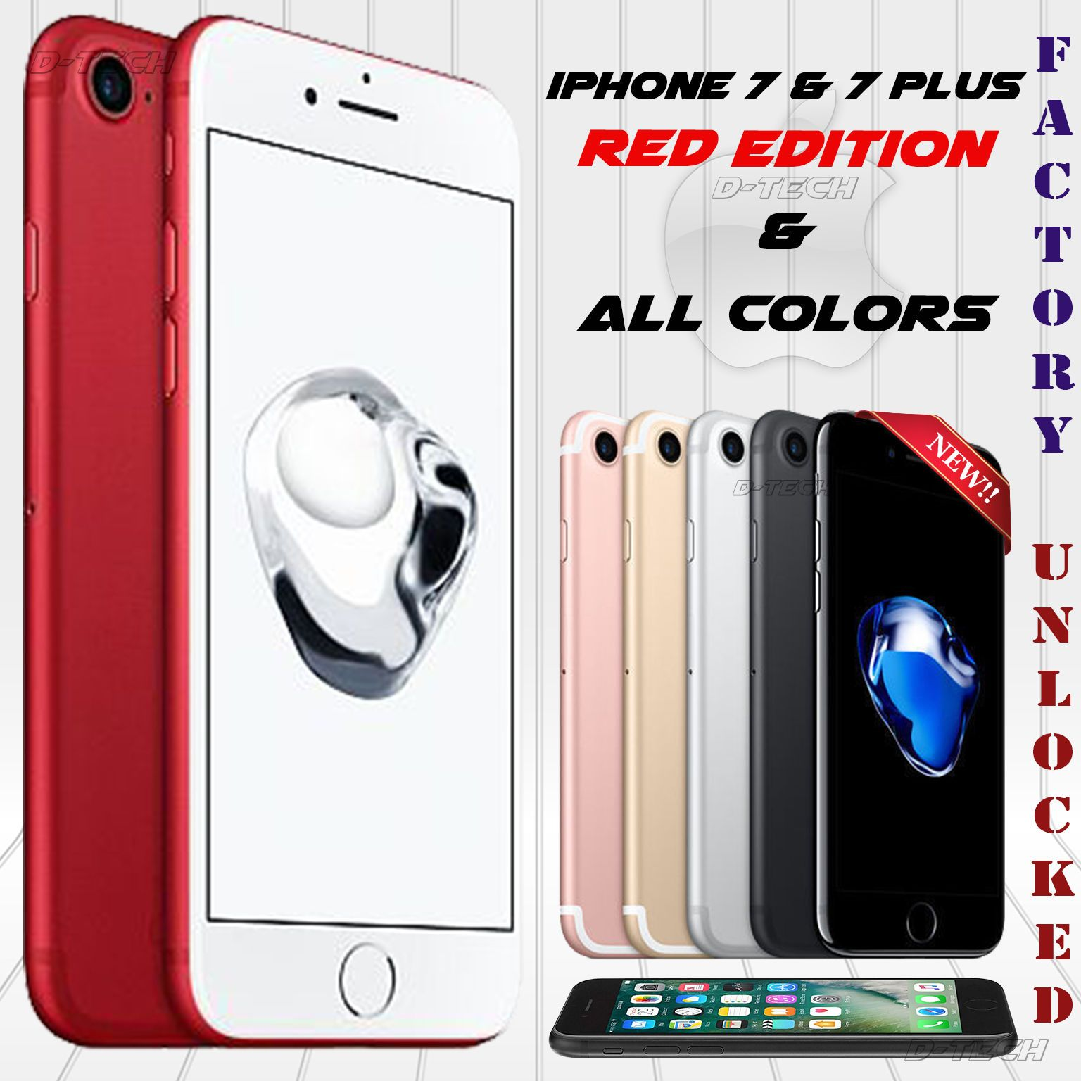 """Apple I phone 7 FACTORY UNLOCKED OEM 32GB 128GB 256GB LTE 4 7"""" HD 12MP NEW"""