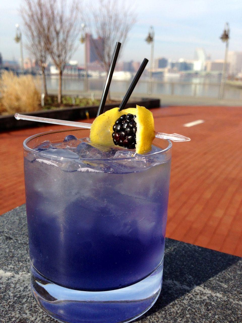 For Stacy ----  Ravens Royale: Vodka, Fresh Lemon Juice, Purple-infused Honey, Sparkling wine