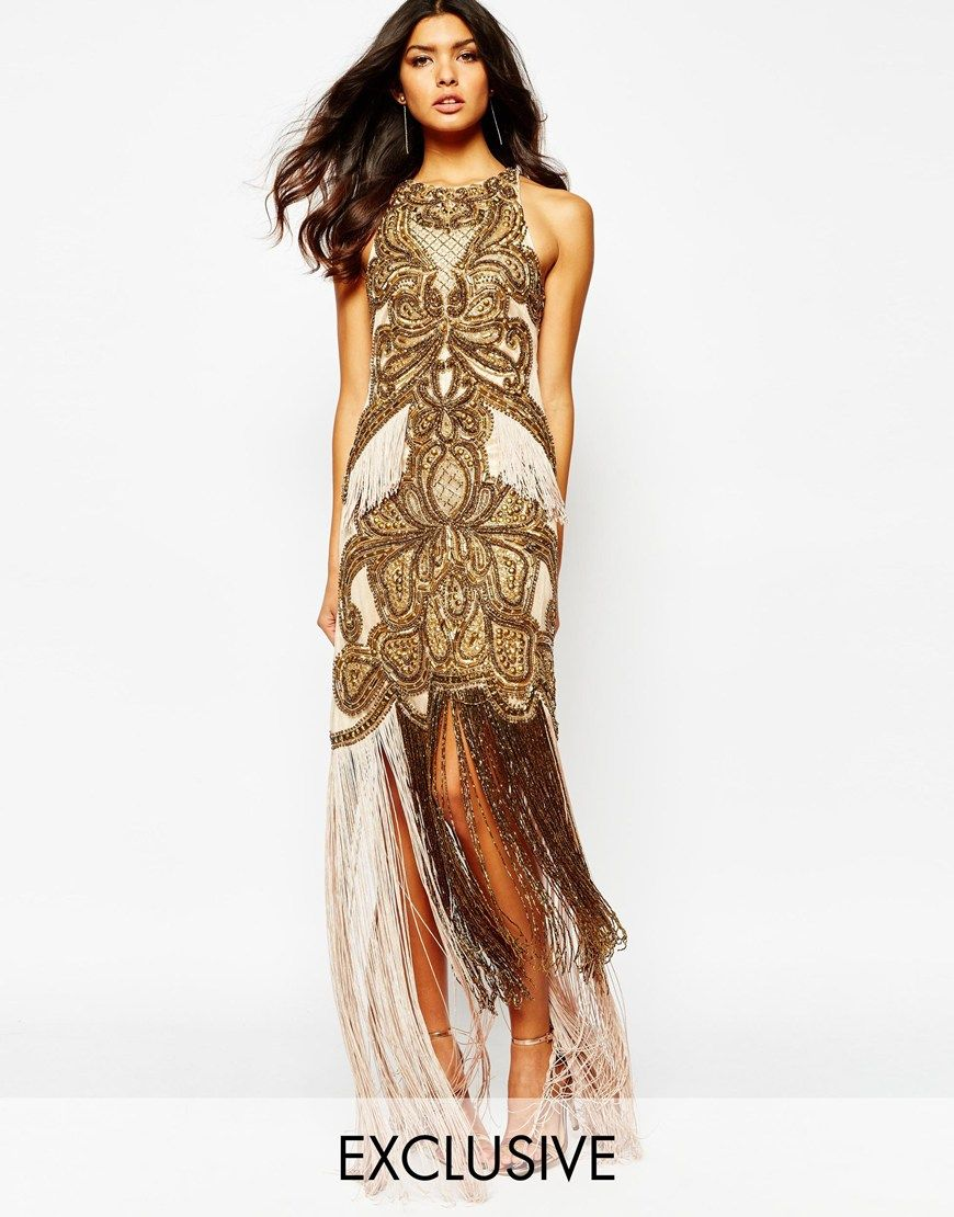 3d591911b2d Image 1 of A Star Is Born Luxe Allover Jewel Embellished Maxi Dress With  Beaded Tassel Hem