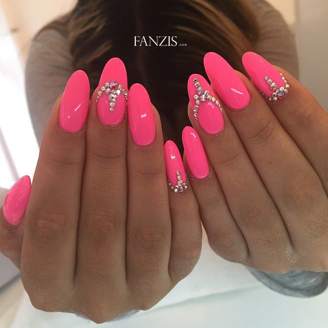 neon pink nails with swarovski crystals bling nails