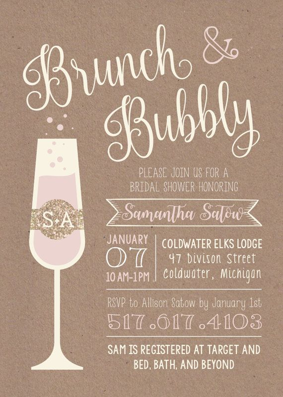 5 x 7 Printable Rustic BRUNCH BUBBLY Bridal Shower Invitation