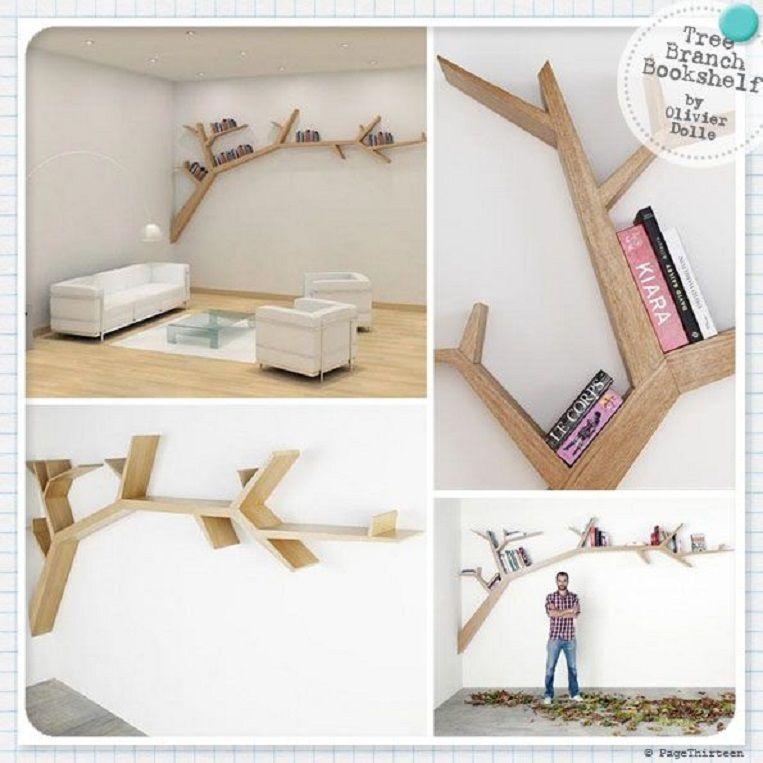 DIY Tree Branch Bookshelf