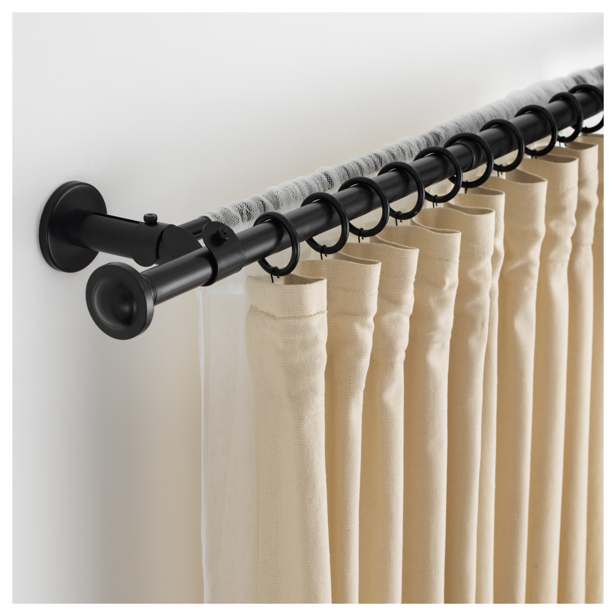 STORSLAGEN Double curtain rod set, black | Double curtain rod set ...