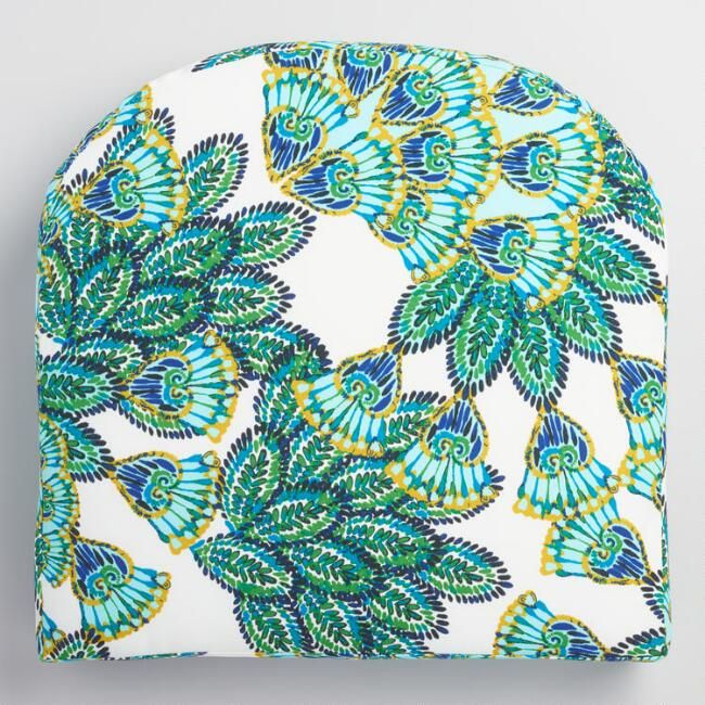 Gusset Aqua Peacock Outdoor Chair Cushion V1 Go Outside It S