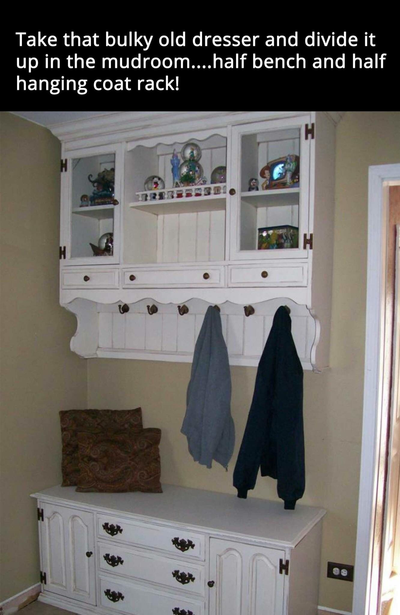 old hutch converted to mud room use
