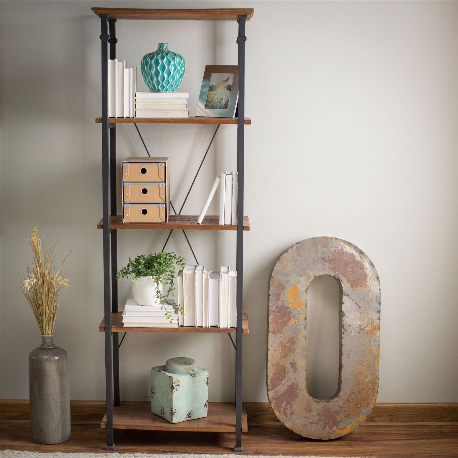 Living Room Kitchen Storage 4 Shelf Bookcase Bookshelf Vintage Industrial Style