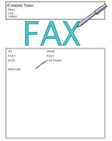 This printable fax cover sheet shows a pen writing the word Fax in - fax templates for word