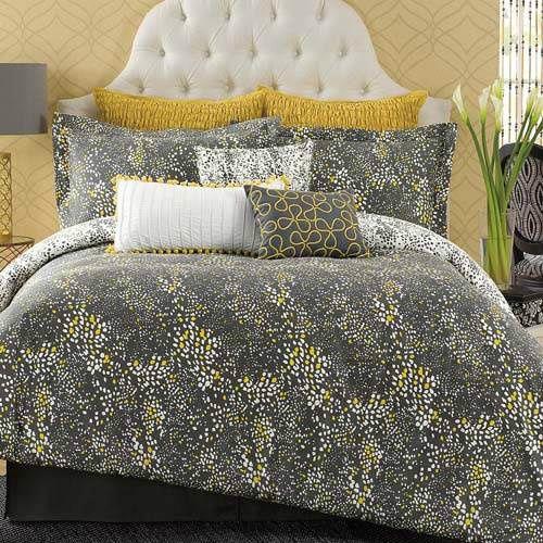King Size Dark Gray Yellow White Reversible 3 Piece Comforter Set