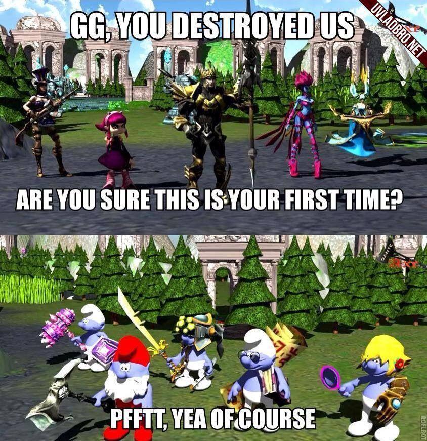 Smurfing Is Great Lol League Of Legends League Memes League Of Legends Memes