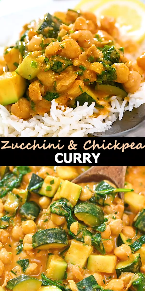 This Easy Zucchini Chickpea Curry is a deliciously simple vegan dish. Your whole family will love this flavorful and versatile one-pot meal.  FOLLOW Cooktoria for more deliciousness! If you try my recipes - share photos with me, I ALWAYS check!  #zucchini #chickpeas #dinner #vegan #vegetarian #plantbased #cooktoria