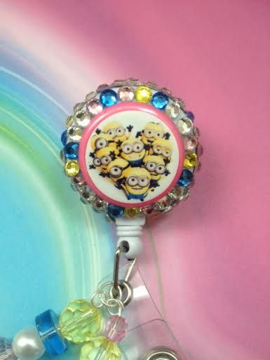 Minion Inspired Bling Badge Reel  NICU  Pink and by ForTheLovetlc