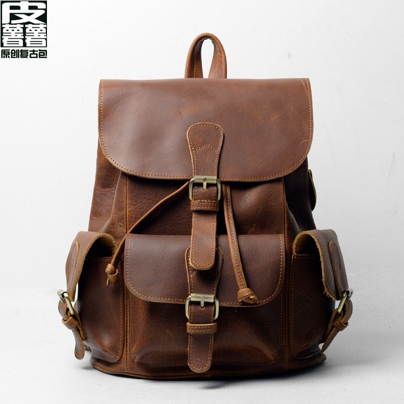 Classic backpack skin potato chips Leather backpack, taobao price : US$74.63