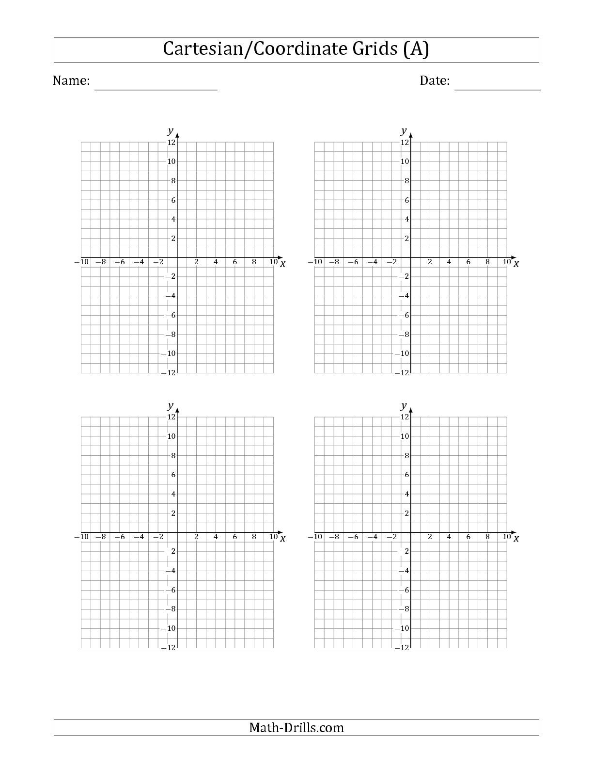 The 4 Per Page Cartesian/Coordinate Grids math worksheet from the Graph  Paper page at Mat…   Coordinate grid [ 1584 x 1224 Pixel ]