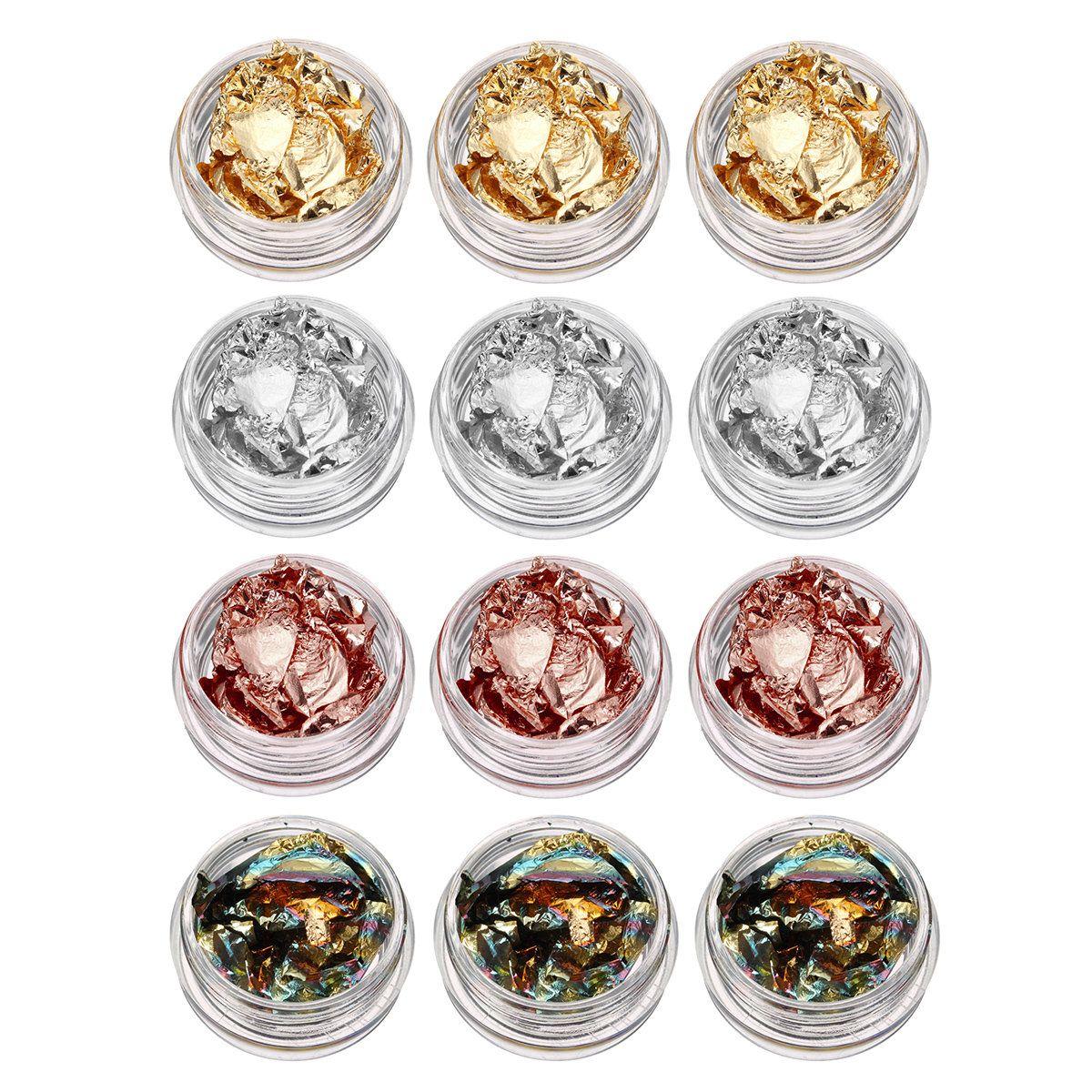 12 potkit nail art foil paper gold silver paillette flake