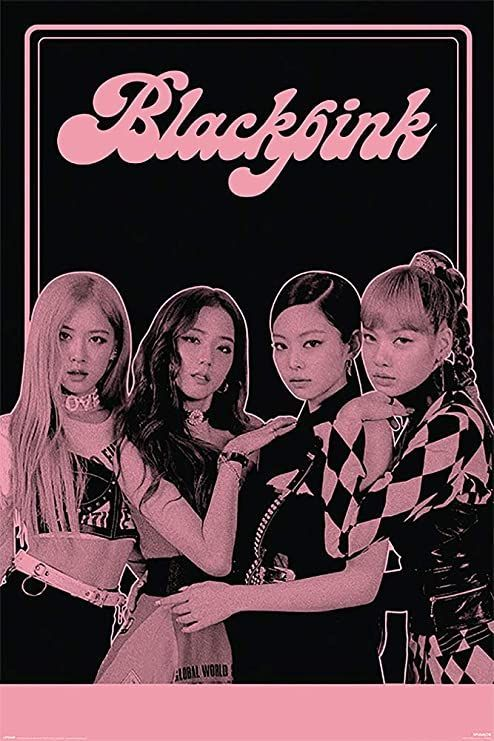 POSTER STOP ONLINE Blackpink - K-Pop Music Poster (The Girls - Black & Pink) (Size 24 x 36