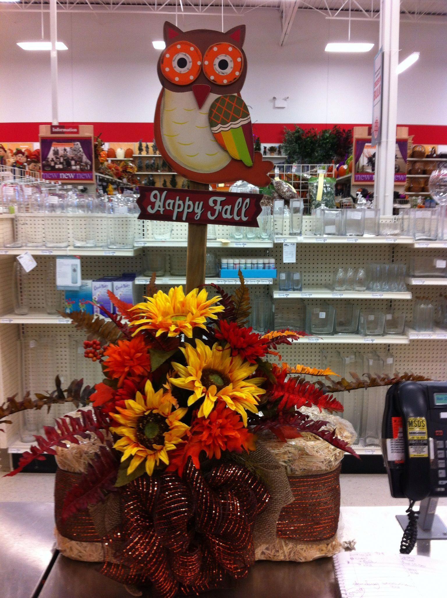 Owl hay bale arrangement fallharvestdecorationsgourds