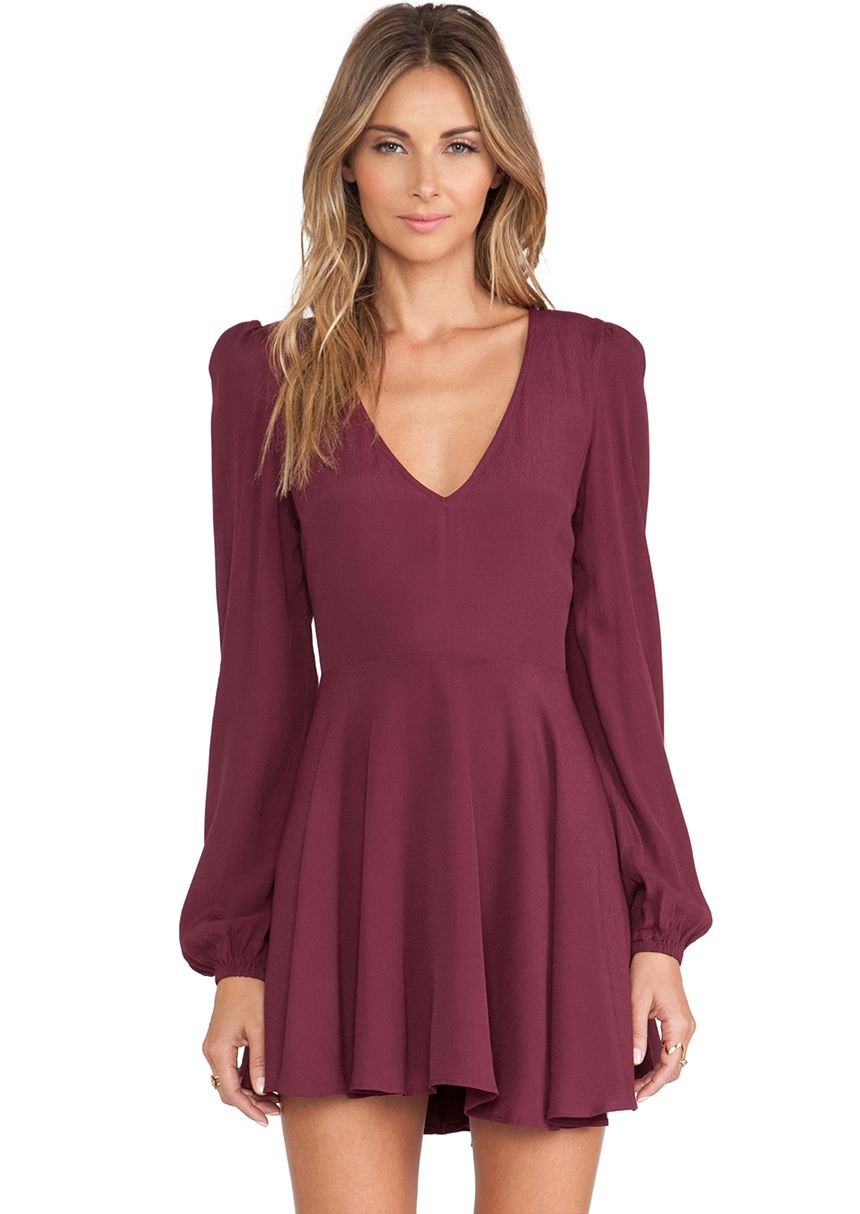 Shop Wine Red Long Sleeve V Neck Pleated Dress online. Sheinside offers  Wine Red Long Sleeve V Neck Pleated Dress   more to fit your fashionable  needs. 111643a3bc5b7