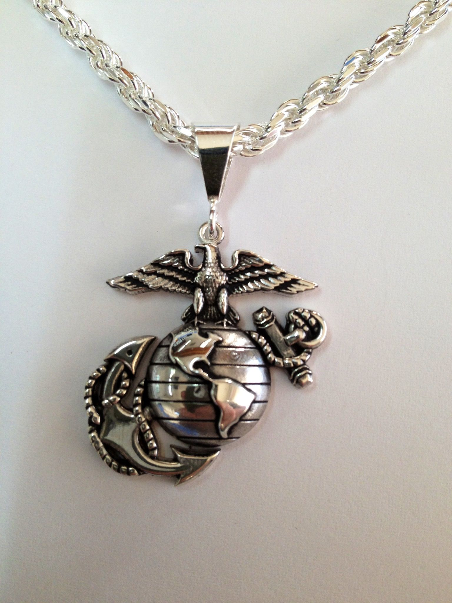 "1"" Tall Solid Sterling Usmc Eagle Globe And Anchor Pendant"