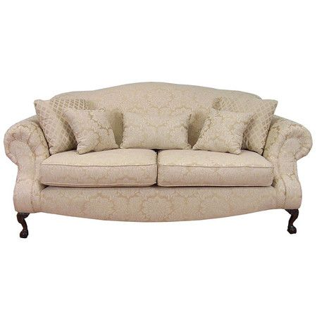 Vintage Inspired Sofa With Beige Floral Upholstery And Cabriole Legs.  Product: Sofa Construction