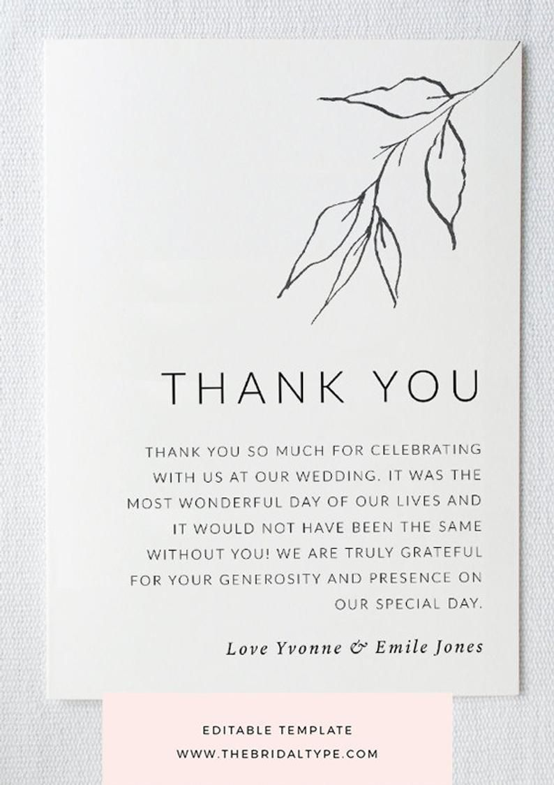 Botanical Thank You Card Template Custom Thank You Greenery Pencil Sketch Minimalist Thank You Bridesmaid Thank You Wedding Thank You Bridesmaid Thank You Thank You Card Template Wedding Thank You Cards