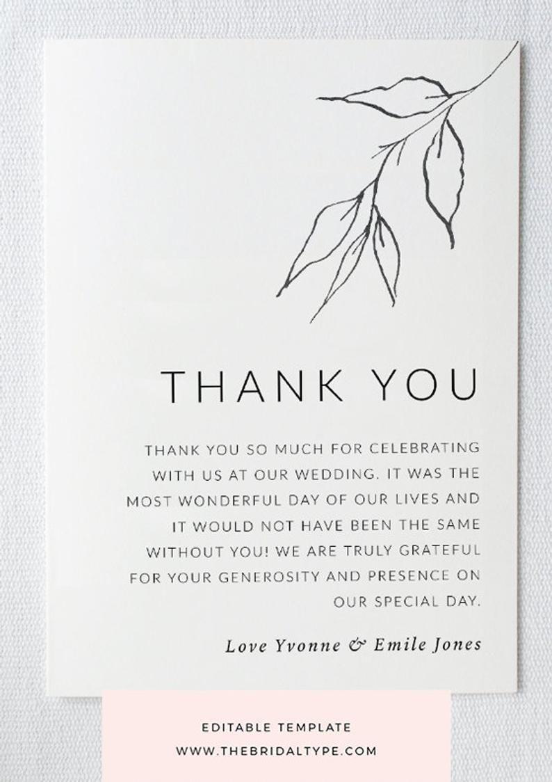 Botanical Thank You Card Template Custom Thank You Greenery