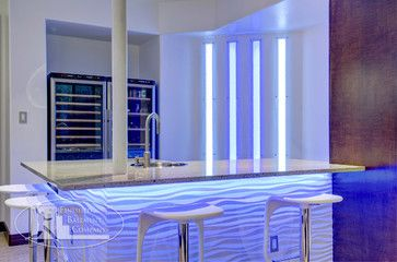 Basement Wet Bar   Contemporary   Bar Front Features 3D Wall Panels With  Undercounter Lighting.