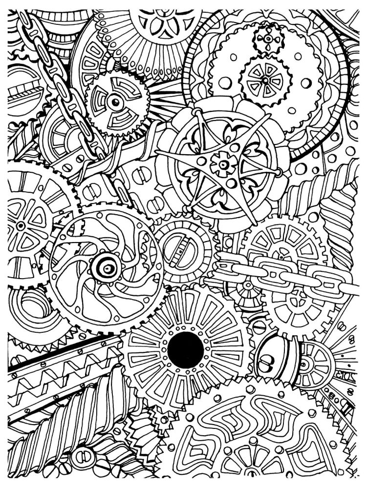 Intricate Design Of Gear For Adult Difficult Coloring