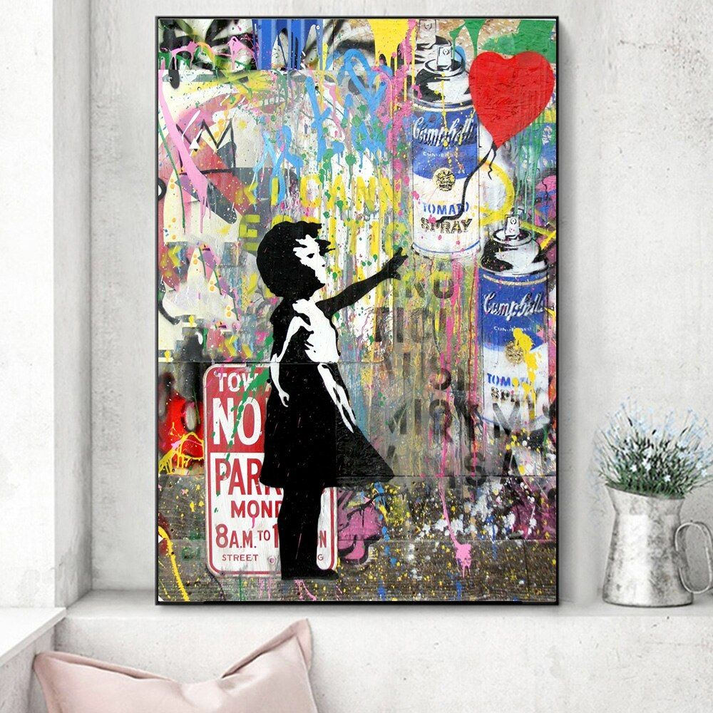 Cheap Painting Calligraphy Buy Quality Home Garden Directly From China Suppliers Wall Graffiti Art Girl Holding A Balloon Canv Graffiti Art Art Prints Art