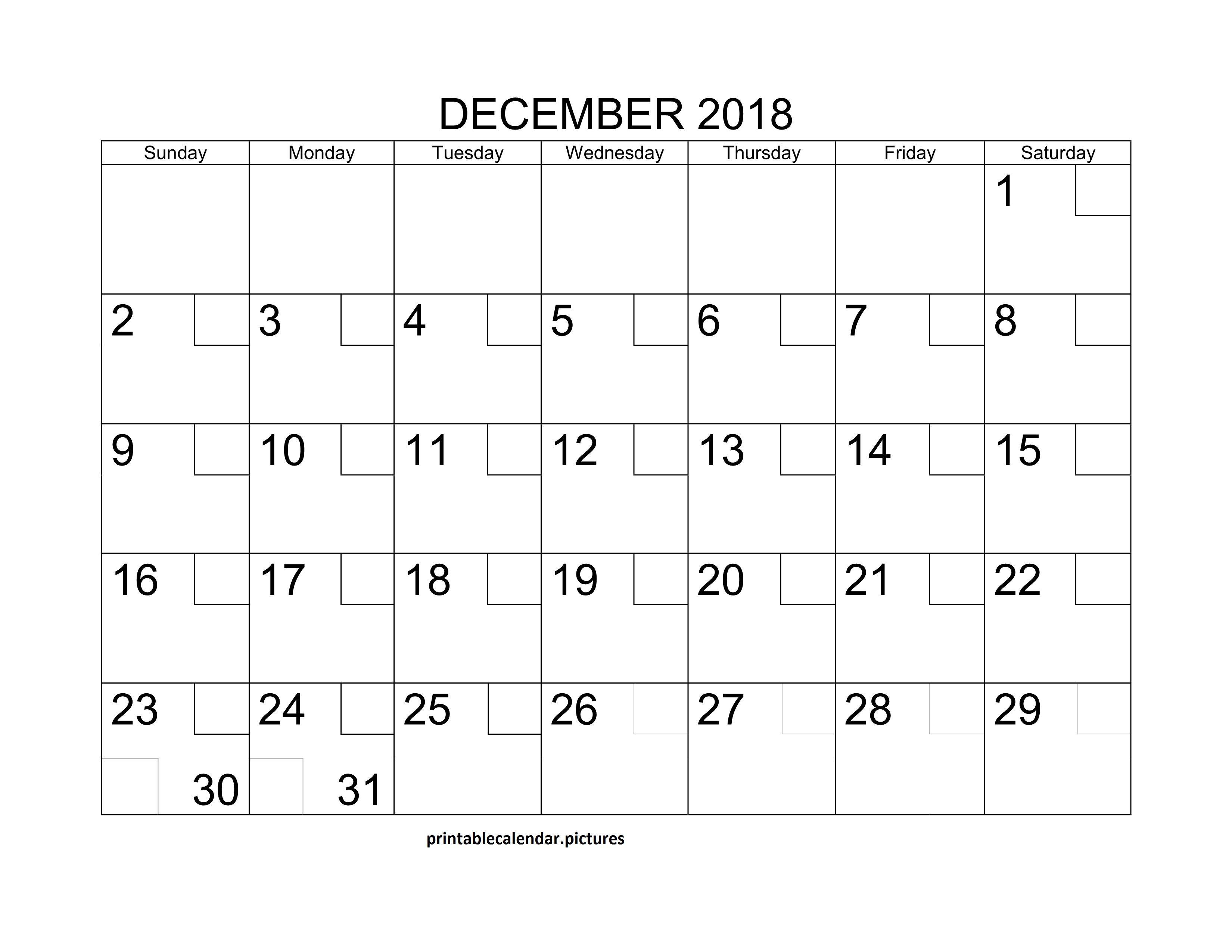 Printable Blank December 2018 Calendar December Calendar Free