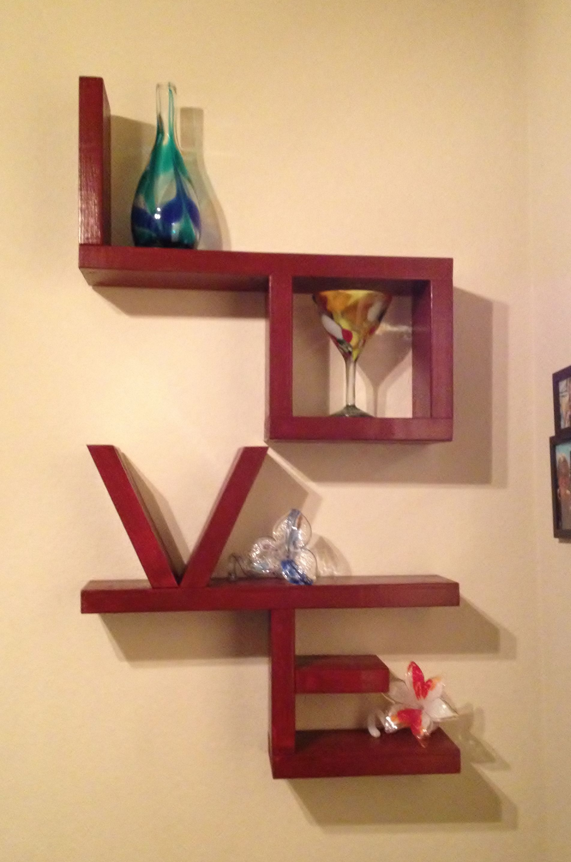 Wooden LOVE shelf.. I would love to make this! We need a book ...