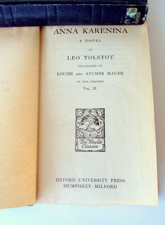 Antique Leo Tolstoy Books The World Classics Anna Karenina Vol 1