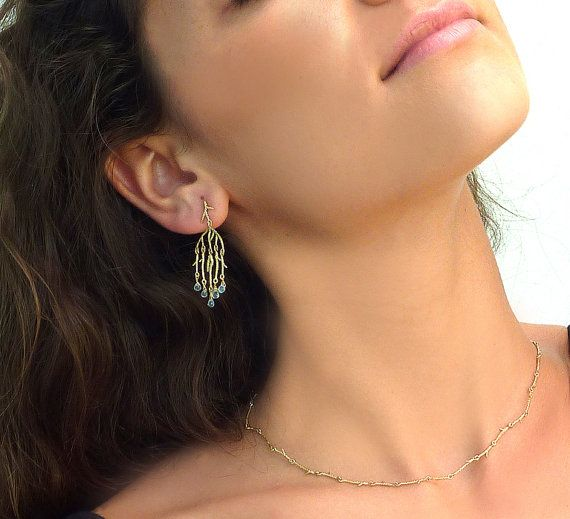 Aquamarine and solid gold chandelier earrings by NoaLiaFineJewelry