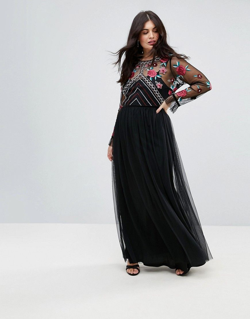 1332da2287 Frock And Frill Plus Premium Embroidered High Neck Long Sleeve Maxi Dress  Plus Size