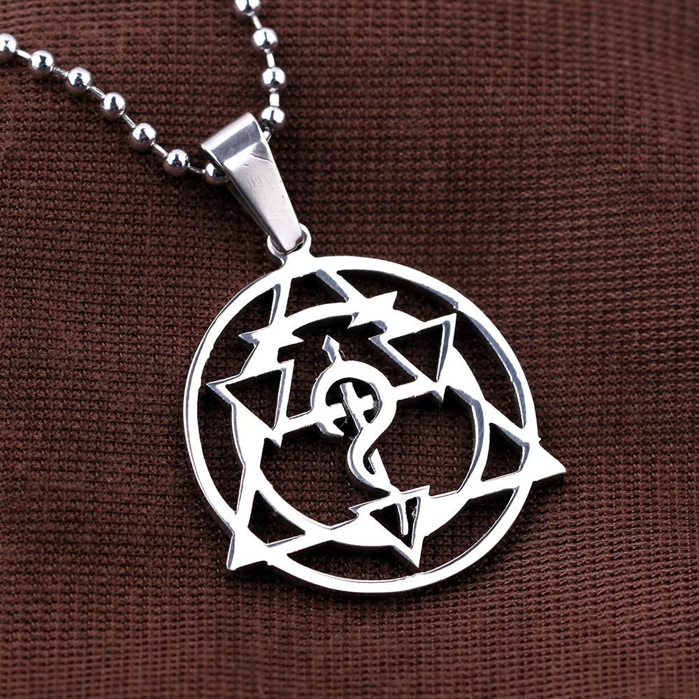 Classic alchemy bright silver pendant necklace and badge