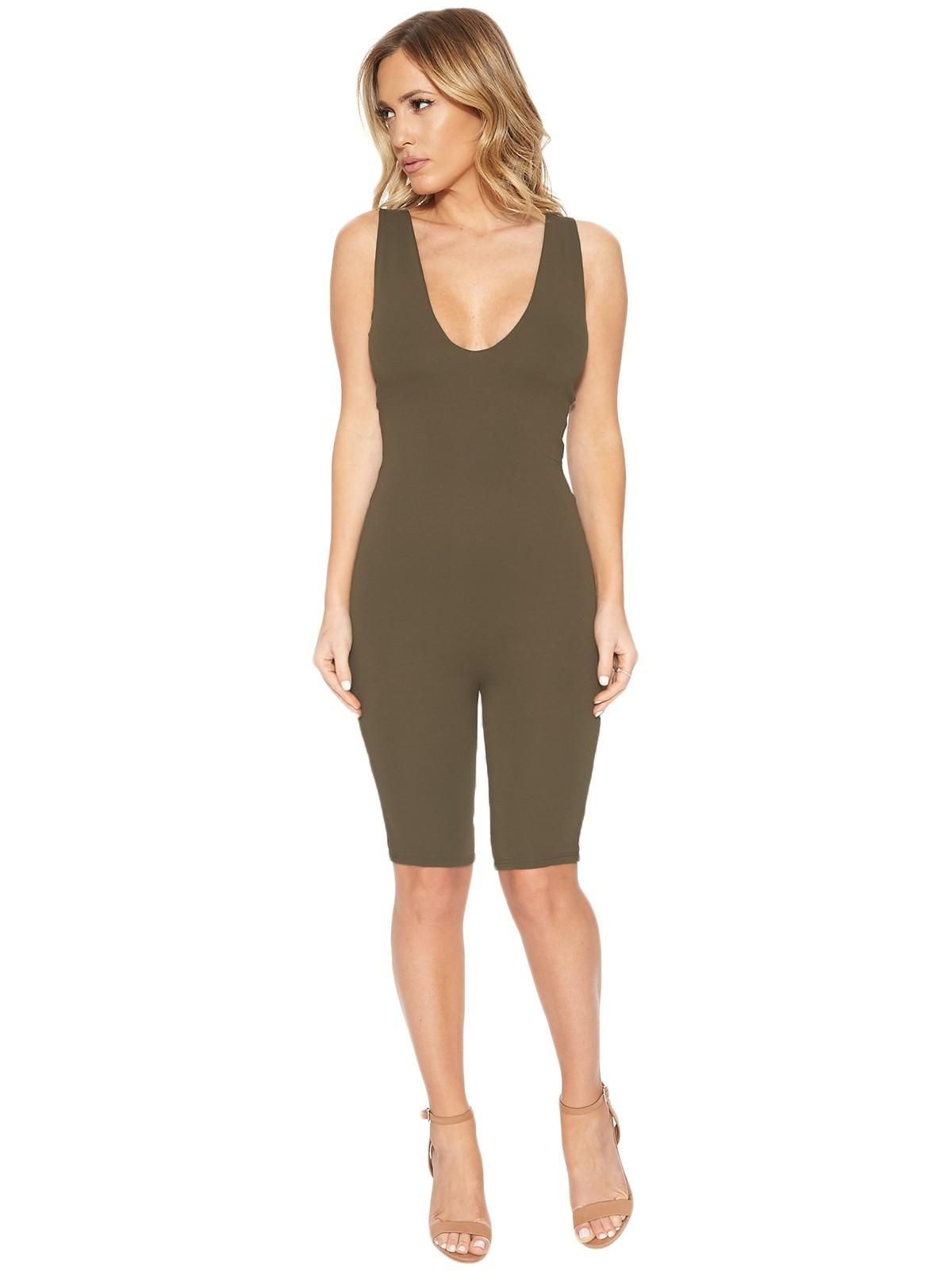 Naked Wardrobe Got Me Deep Cropped Jumpsuit Jumpsuits Womens