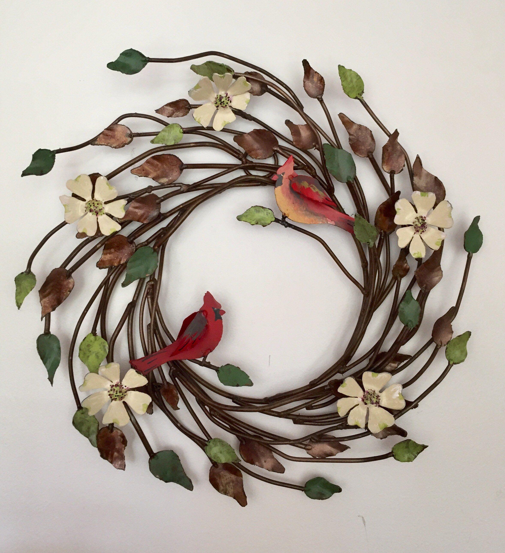 Metal Wreath Metal Art White flowers Hand Painted door