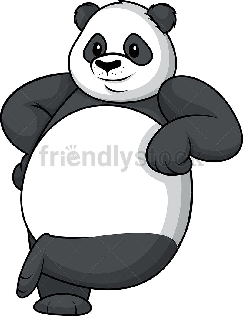 panda leaning on something royalty free stock vector illustration of an adorable panda mascot [ 802 x 1040 Pixel ]