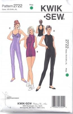 Sizes XS-XL Kwik Sew 3052 Misses Unitard Sewing Pattern~Dance//Exercise~Easy!