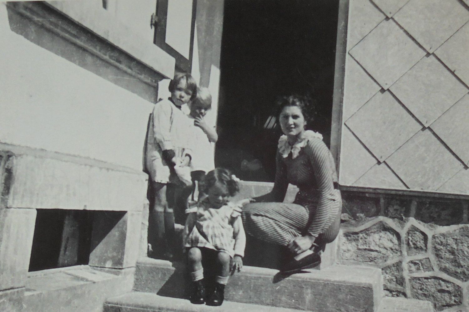 French 1930's Photograph - Woman with Children on the Doorstep by ChicEtChoc on Etsy
