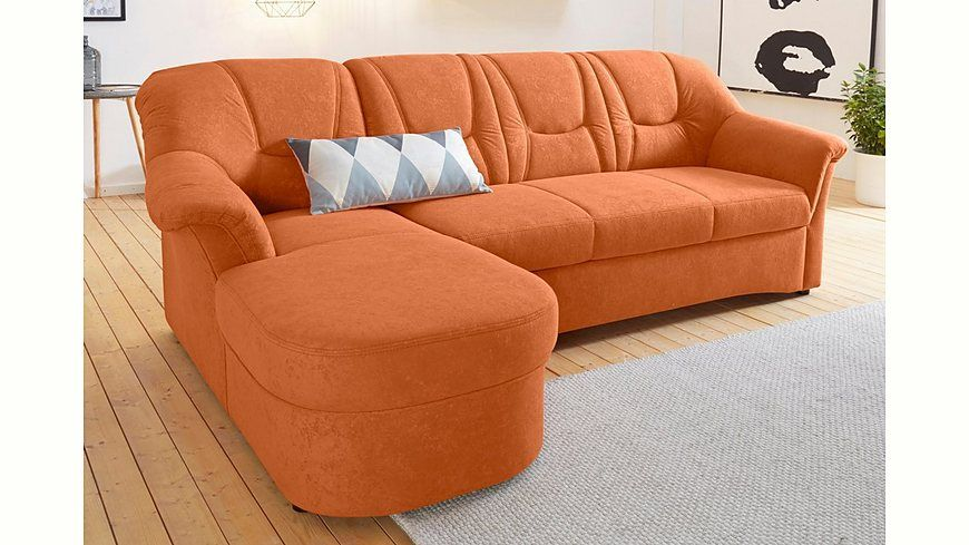 Polsterecke mit Recamiere, wahlweise mit Bettfunktion und Federkern - wohnzimmer orange beige