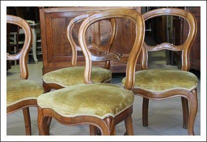 Sedie Antiche ~ Gruppo sei sedie noce massello lombarde luigi filippo poltrone
