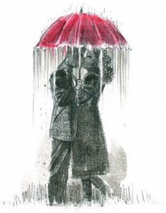 Kissing in the rain. Probably one of my favorite things!