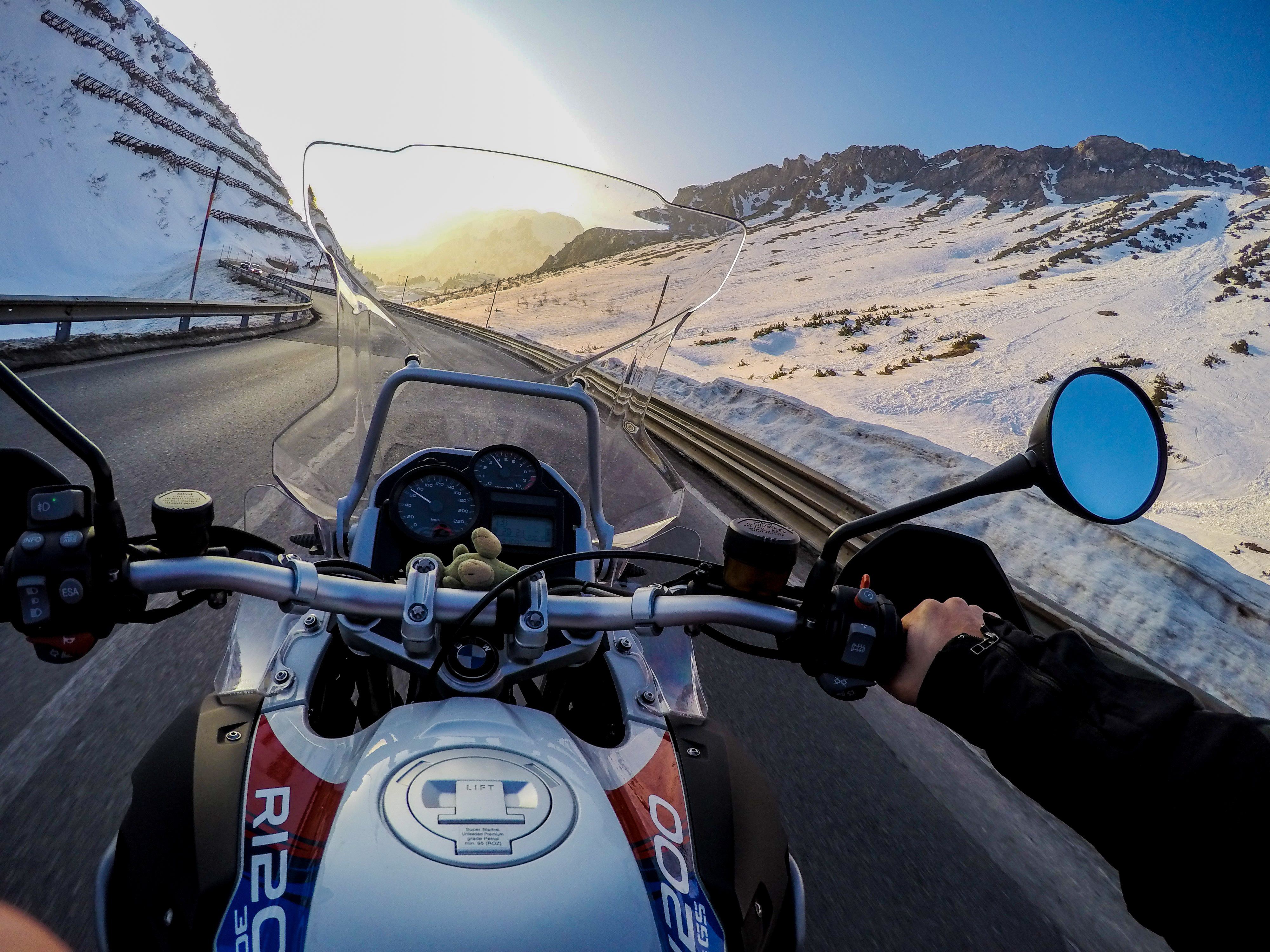 photo of the day! skier helli fischer chose a bmw r1200 gs and