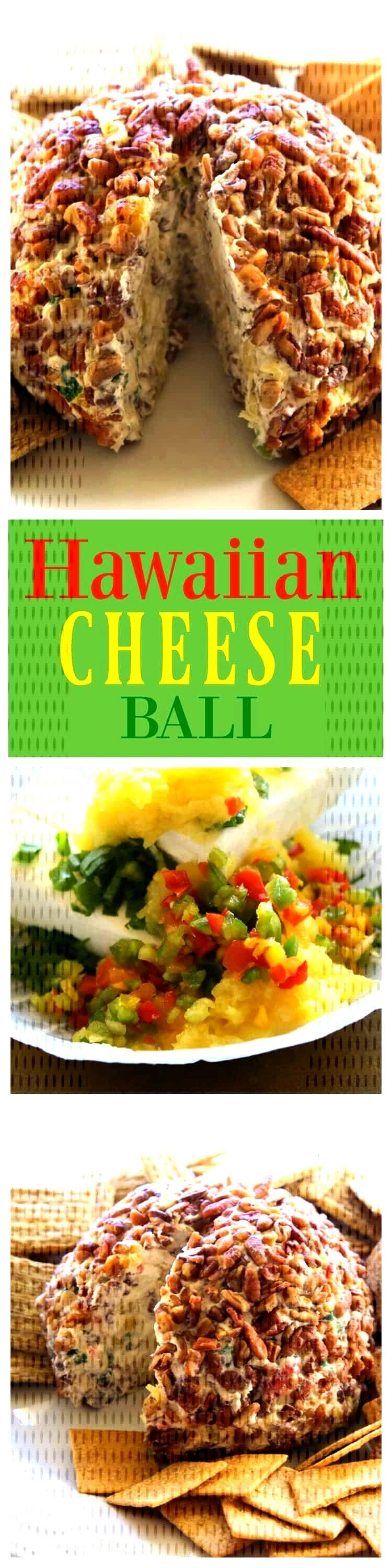Hawaiian Cheese Ball - a cream cheese ball with crushed pineapple, green onions, and bell pepper. T