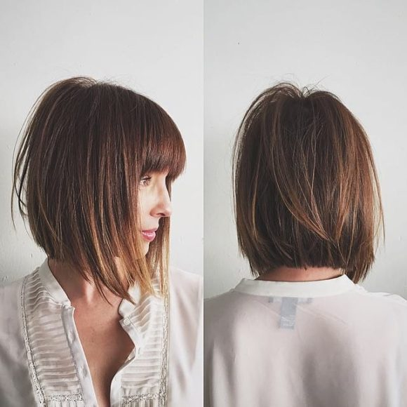 Rich Brunette Soft Layered Bob With Curtain Bangs And Undone Straight Texture The Latest Hairstyles For Men And Women 2020 Hairstyleology Short Hair With Bangs Bob Hairstyles Layered Bob With Bangs