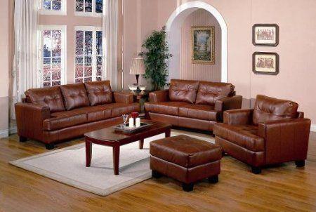 Best Amazon Com Burnt Orange Classic Leather Sofa Couch Home 640 x 480