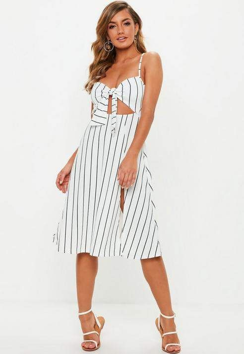 Split Front Tie Midi Stripe Missguided DressEnterizos White 2DWIEH9