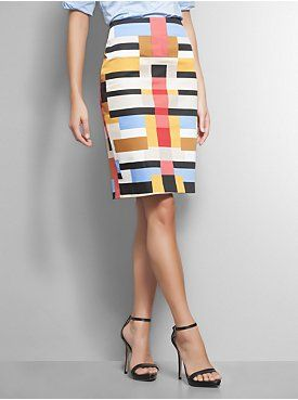 NYC   Geometric Print Sateen Pencil Skirt (Sunglow) $46.95. Style 03876862. Pattern and color blend beautifully together on this geometric pencil skirt.